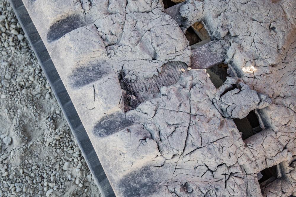 Damaged Compact Track Loader Tracks (Steel Cords Showing)